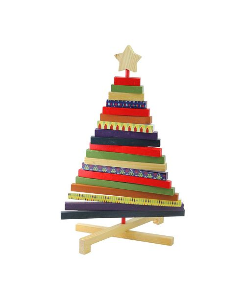 "Northlight 15.5"" Adjustable Multi-Colored Wooden Decorative Christmas Tree Tabletop Decoration"