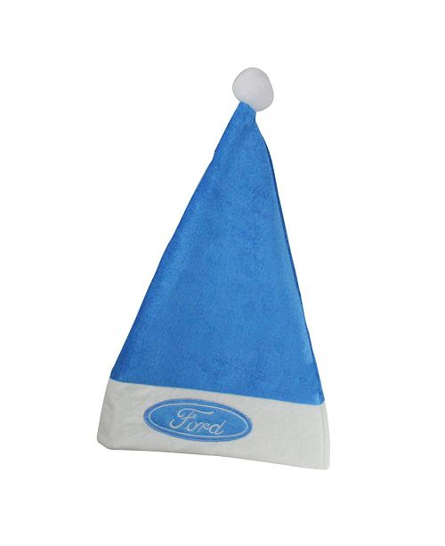 "Northlight 18"" Blue and White Ford Christmas Santa Hat with White Brim - Adult Size"