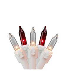 "Set of 150 Red Clear Mini Icicle Christmas Lights 3"" Spacing - White Wire"