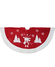 Winter Reindeer Embroidered Christmas Tree Skirt