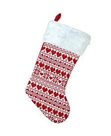 Heart and Snowflake Knit Christmas Stocking with Plush Cuff