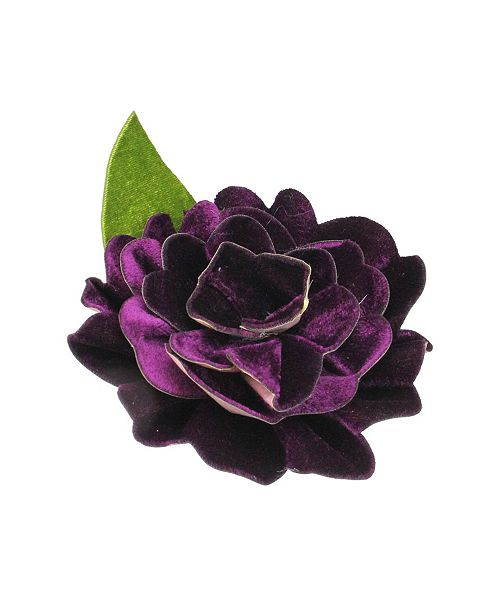 Northlight Clip-on Purple Velvet Camellia Flower with Leaf Christmas ornament