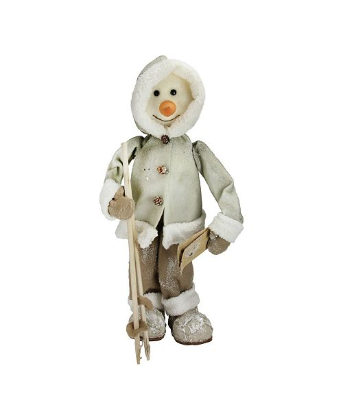 "Northlight 21.5"" White and Brown Skiing Snowman Christmas Figure Decoration"