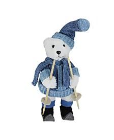 "15"" Skiing White Bear Christmas Table Top Figure Decoration"