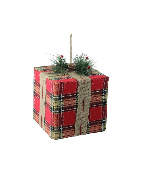 "Northlight 8.5"" Holiday Moments Red and Brown Plaid Gift Box Present Christmas Ornament"