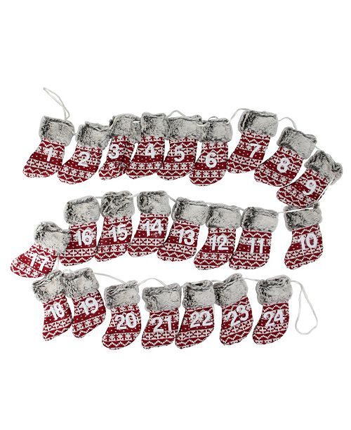 "Northlight 94"" Red White and Brown Countdown Christmas Stocking Garland - Unlit"