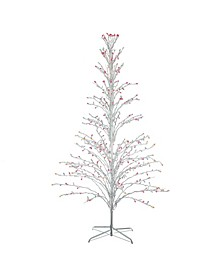 6' White Lighted Christmas Cascade Twig Tree Outdoor Decoration - Multi Lights