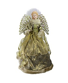Lighted Fiber Optic Angel in Metallic Gold-Tone Gown with Harp Christmas Tree Topper
