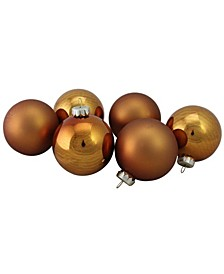 """6-Piece Shiny and Matte Copper Glass Ball Christmas Ornament Set 3.25"""" 80mm"""