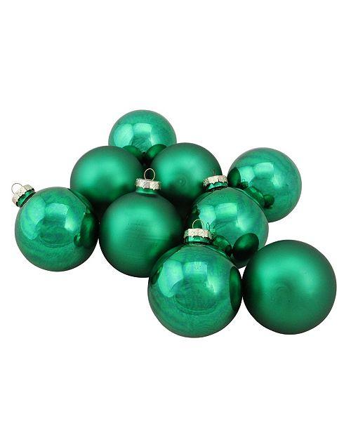 "Northlight 9-Piece Shiny and Matte Green Glass Ball Christmas Ornament Set 2.5"" 65mm"