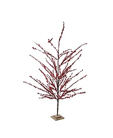 "59"" Festive Artificial Red Berries Decorative Christmas Tree - Unlit"