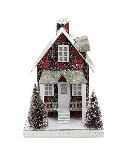 "Northlight 9.5"" Holiday Moments LED Lit Holiday Tartan House Christmas Decoration -Warm White Lights"