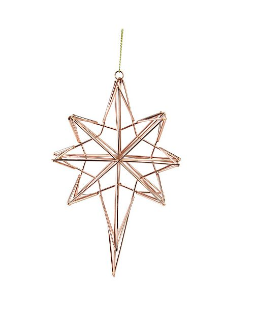 """Northlight 6.75"""" Rose Gold Geometric Wire 8-Point Star Christmas Ornament"""