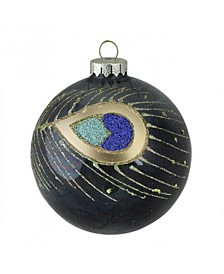 """4"""" 100mm Regal Peacock Glittered Peacock Feather Black Glass Ball Christmas Ornament"""
