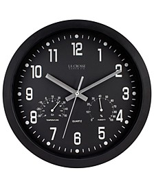 """La Crosse Clock 404-2631 12"""" Indoor Analog Wall Clock with Temperature and Humidity"""
