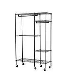 4-Shelf Steel Garment Rack with Wheels