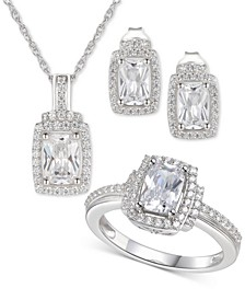 3-Pc. Set Cubic Zirconia Halo Pendant Necklace, Drop Earrings and Ring in Sterling Silver