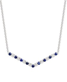 "Sapphire (5/8 ct. t.w.) & Diamond (1/20 ct. t.w.) Chevron 16"" Statement Necklace in Sterling Silver"