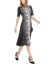 Mock-Neck Printed Midi Dress, Created For Macy's