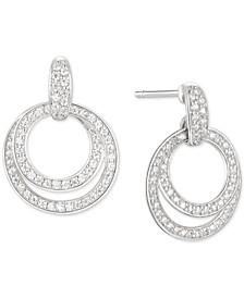Cubic Zirconia Double Hoop Drop Earrings in Sterling Silver