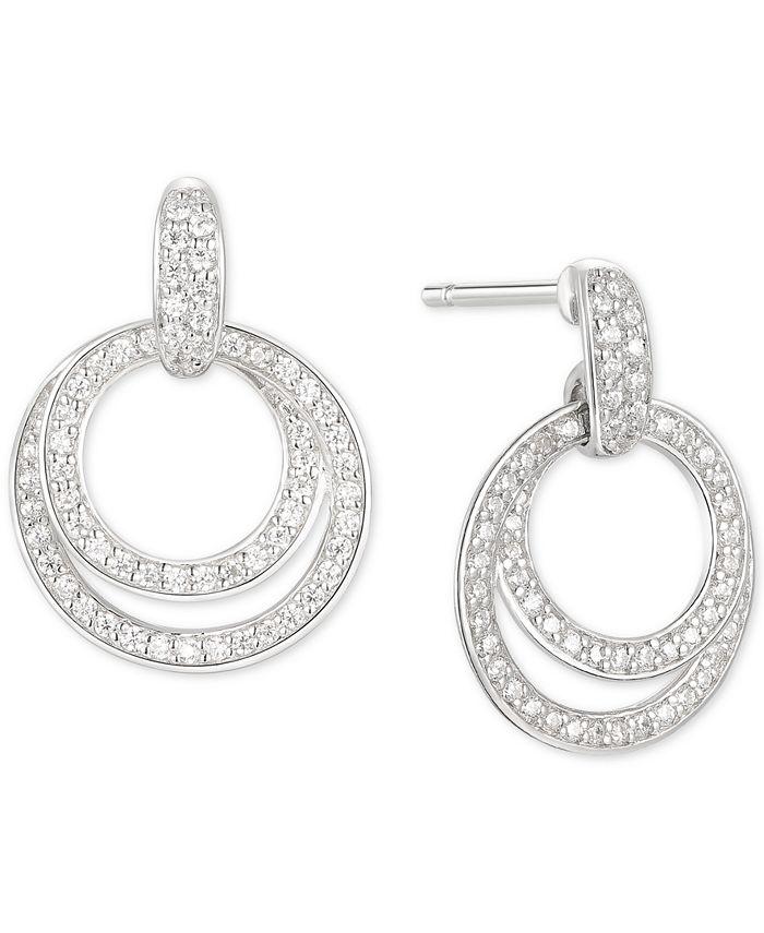 Macy's - Cubic Zirconia Double Hoop Drop Earrings in Sterling Silver