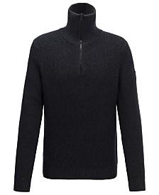 BOSS Men's Akromiz Zip-Neck Ribbed Sweater