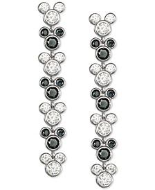 Black Spinel & Cubic Zirconia Mickey Mouse Drop Earrings in Sterling Silver