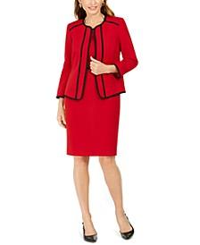 Piping-Trim Jacket & Sheath Dress