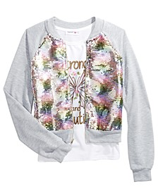 Big Girls 2-Pc. Flip Sequins Bomber Jacket & Butterfly Tank Top Set