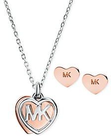 "Two-Tone Sterling Silver Logo Heart Pendant Necklace & Stud Earrings Set, 16"" + 2"" extender"