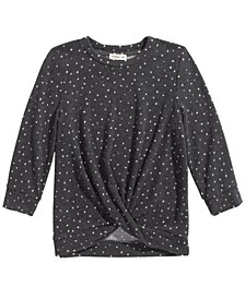 Big Girls Twisted Dot-Print Top