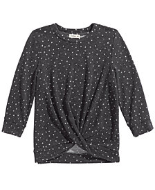 Monteau Big Girls Twisted Dot-Print Top