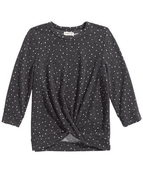 Monteau Big Girls Twisted Dot-Print Top