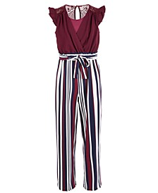 Big Girls Striped Surplice Jumpsuit