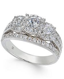 Diamond Three Stone Engagement Ring (1-1/2 ct. t.w.) in 14k White Gold