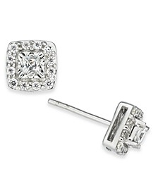 Diamond Princess Halo Cluster Stud Earrings (1/2 ct. t.w.) in 14k White Gold