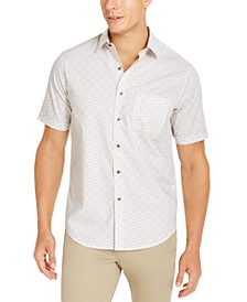 Men's Stretch Medallion Print Short-Sleeve Woven Shirt, Created For Macy's