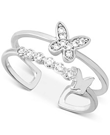 Crystal Butterfly Two-Row Toe Ring in Fine Silver-Plate