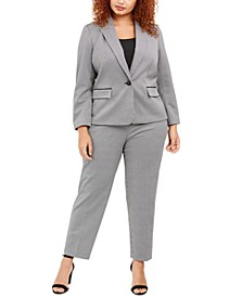 Plus Size Houndstooth Single-Button Jacket & Houndstooth Straight-Leg Pants