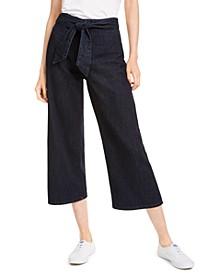 Wide-Leg Tie-Waist Jeans