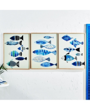 Two's Company Aegean Sea Fish Wall Art with Metallic Silver Detail - Set of 3