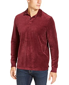 Men's Velour Long Sleeve Polo Shirt, Created For Macy's