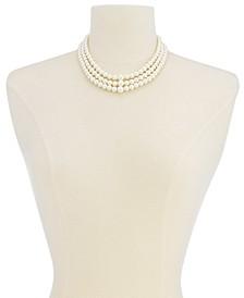 Three Row White Simulated Pearl (10 mm)
