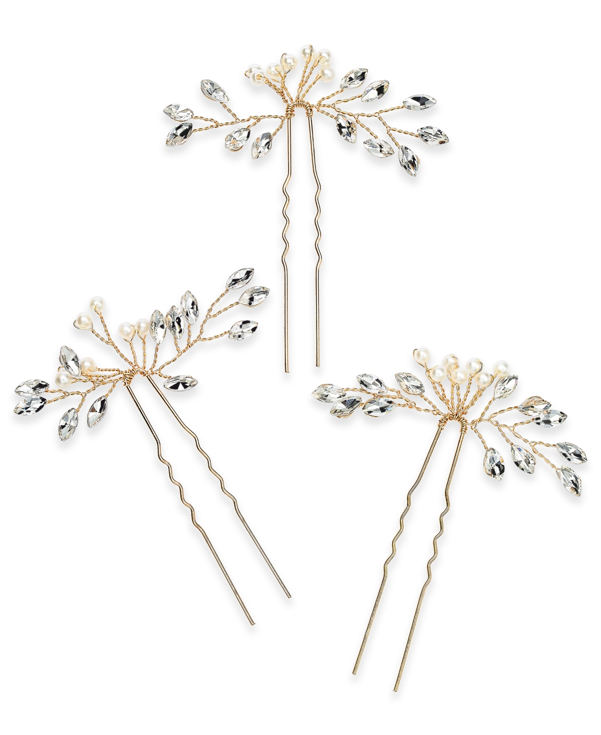 Inc International Concepts 3-Pc. Set Crystal & Imitation Pearl Bead Bobby Pins, Created for Macy's