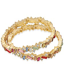 INC Gold-Tone 2-Pc. Set Pavé & Baguette-Stone Stretch Bracelets, Created For Macy's