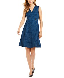 Croc-Embossed Fit & Flare Dress