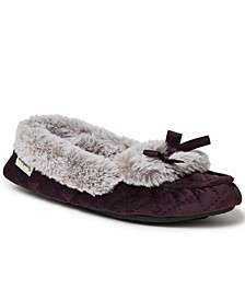 Women's Quilted Velour Moccasin Slippers, Online Only