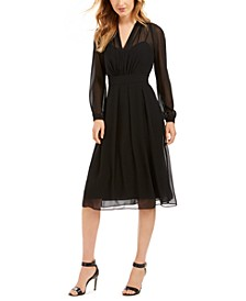 Pleated Sheer-Overlay Dress