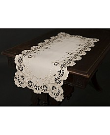 """Scalloped Lace Embroidered Cutwork Table Runner, 15"""" x 53"""""""