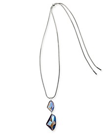 "Silver-Tone Stone Drop 40"" Adjustable Pendant Necklace, Created For Macy's"